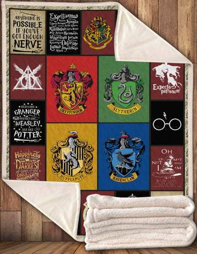 HP Quotes Four House Hgwarts Blanket