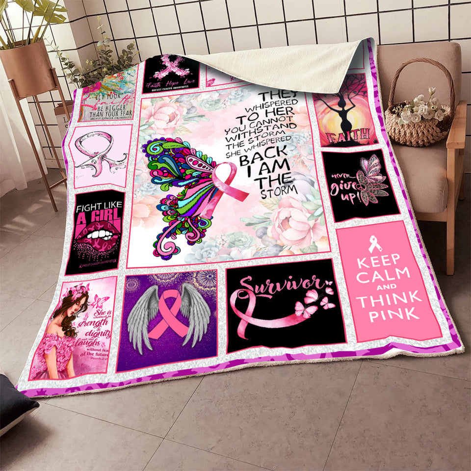 Breast Cancer They Whispered To Her You Can't Withstand The Storm Blanket