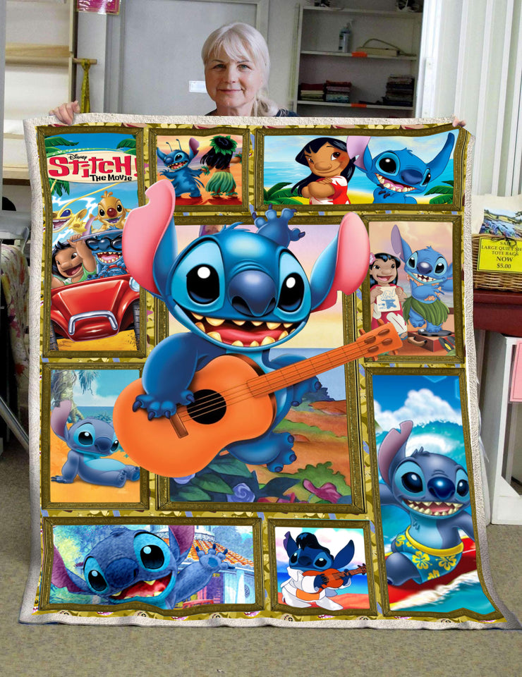 LAS Stitch Playing Guitar 3D Blanket