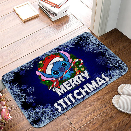 LAS Stich Merry Christmas Laurel Christmas Doormat