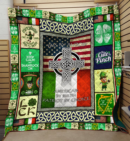 Irish By Blood American By Birth ST Patrick's Day Quilt