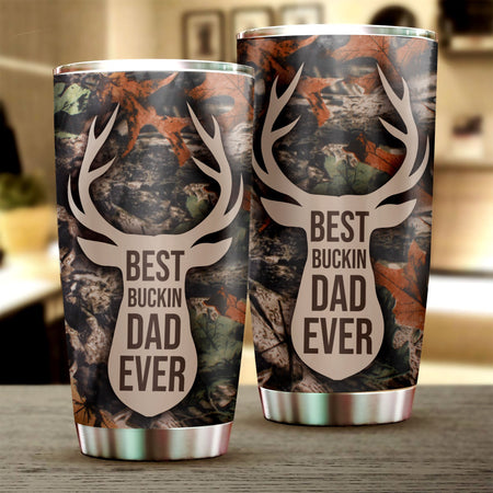 Friday89 Father Hunting Tumbler Cups Father's Day Gift Best Bucking Dad Ever Tumbler 20 oz