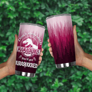 Friday89 Mother Tumbler 20 oz Don't Mess With Mamasaurus Sublimation Tumbler Purple Mothers Day Gift