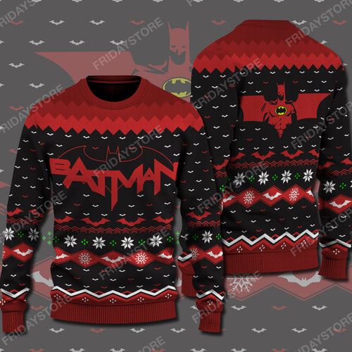 DC Super Hero Red Christmas Sweater