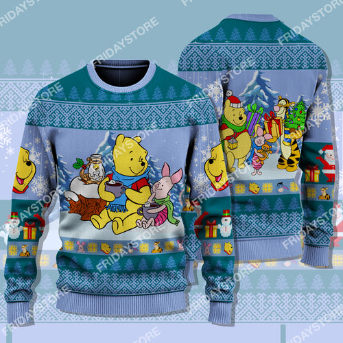 WTP Pooh And Piglet Hot Cocoa Christmas Sweater