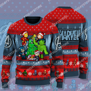 MV Super Heroes With Christmas Tree Christmas Sweater