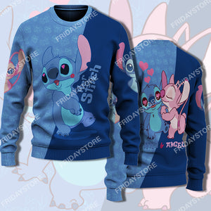 LAS Her Stich Blowing Kiss Couple Sweater