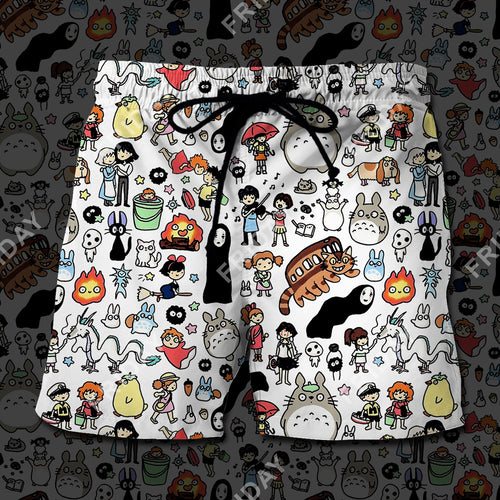 S.Ghibli Totoro Spirited Away Characters Chibi Beach Short
