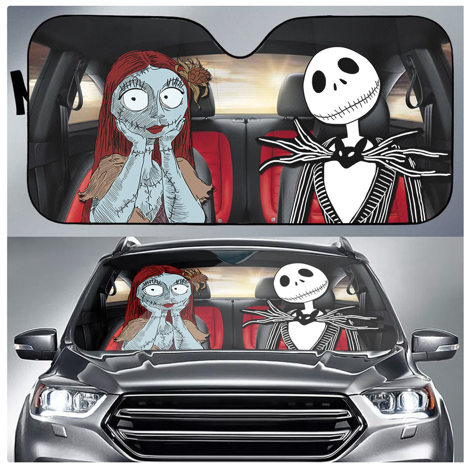 Jack And Sally Car Sun Shade