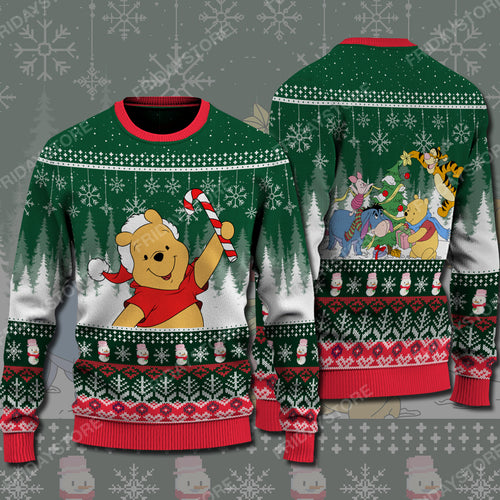 WTP Pooh With Candy Cane Christmas Sweater
