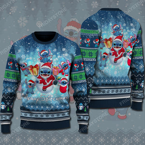 LAS Merry Stitchmas Christmas Pattern Sweater