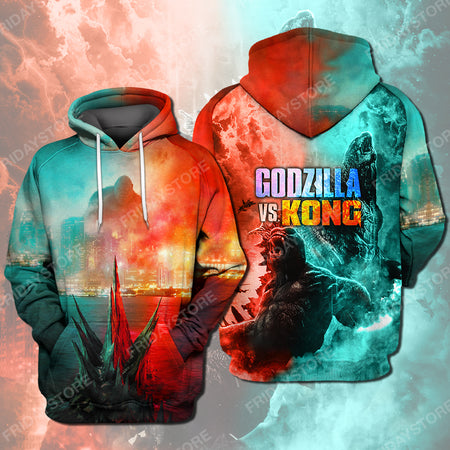 Gozilla And Kong Battle All Over Print Hoodie T-shirt