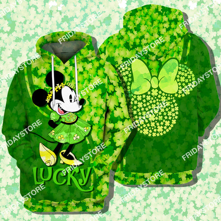 DN Mouse Lucky St Patrick's Day All Over Print Hoodie T-shirt