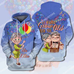 I Wanna Grow Old With You Up Couple His Ellie All Over Print Hoodie T-shirt