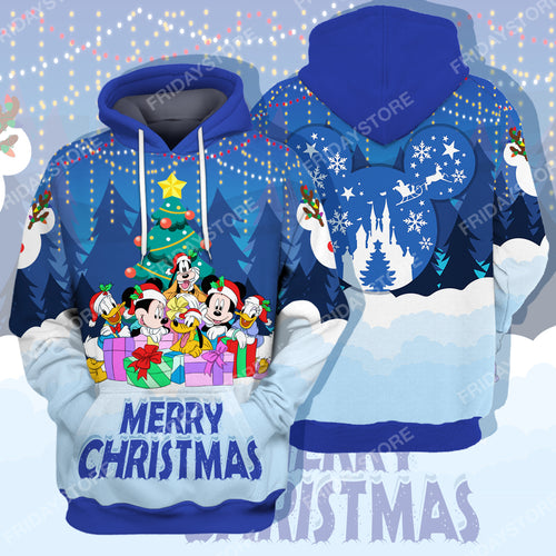 DN Mouse And Friends Together Under Christmas Tree All Over Print Hoodie T-shirt