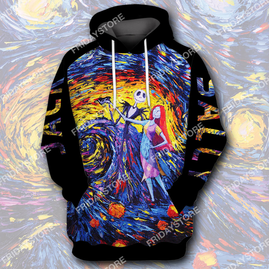 TNBC Starry Night Jack And Sally All Over Print Hoodie T-shirt