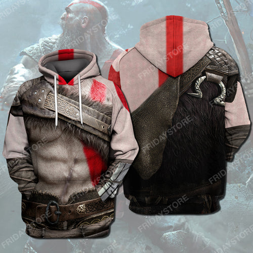 GOW CUSTOM KRATOS APPAREL All Over Print Hoodie T-shirt