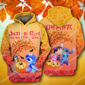 LAS Just A Girl Who Loves Fall And Stitch All Over Print Hoodie T-shirt