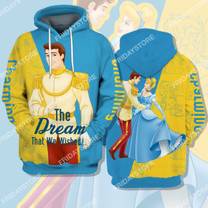 Charming The Dream That We Wished Cinderella Couple All Over Print Hoodie T-shirt