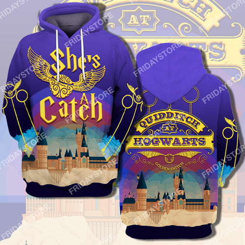 HP Couple She's A Catch All Over Print Hoodie T-shirt