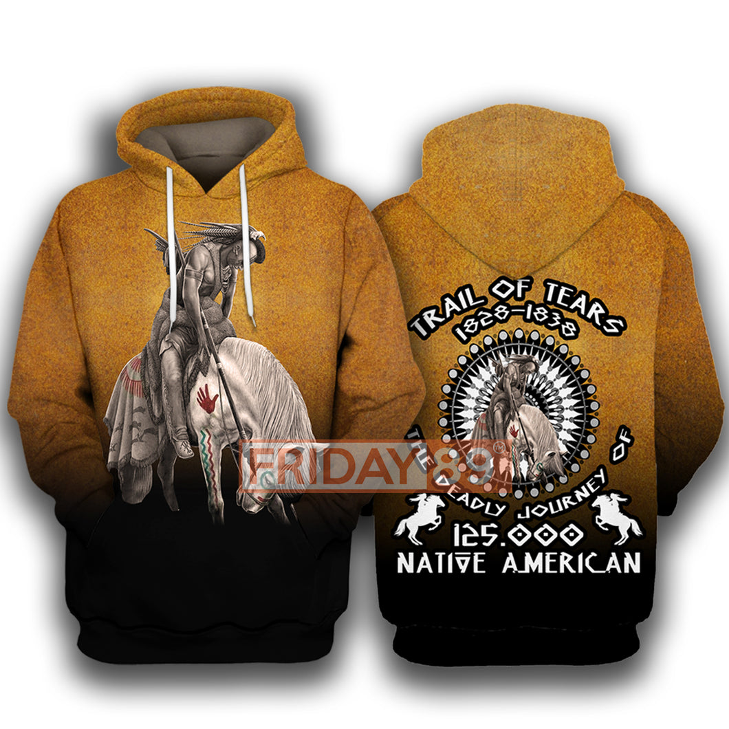 Native American Trail Of Tears The Deadly Journey 125000 All Over Hoodie
