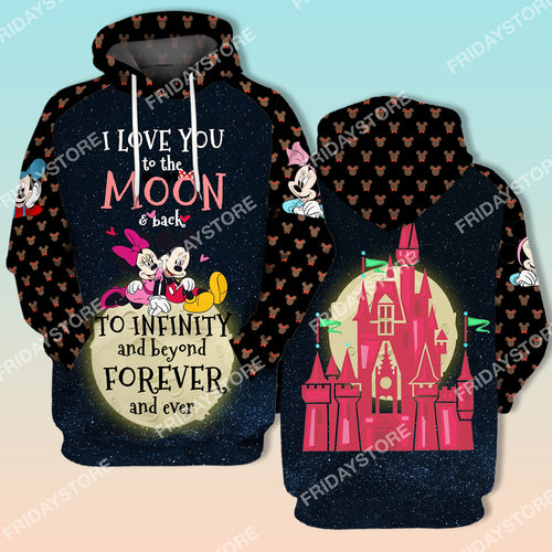 DN Love You To The Moon & Back To Infinity Mouse Couple All Over Print Hoodie T-shirt