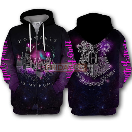HP HW Is My Home Geometric School of Witchcraft and Wizardry  3D Print Hoodie T-shirt