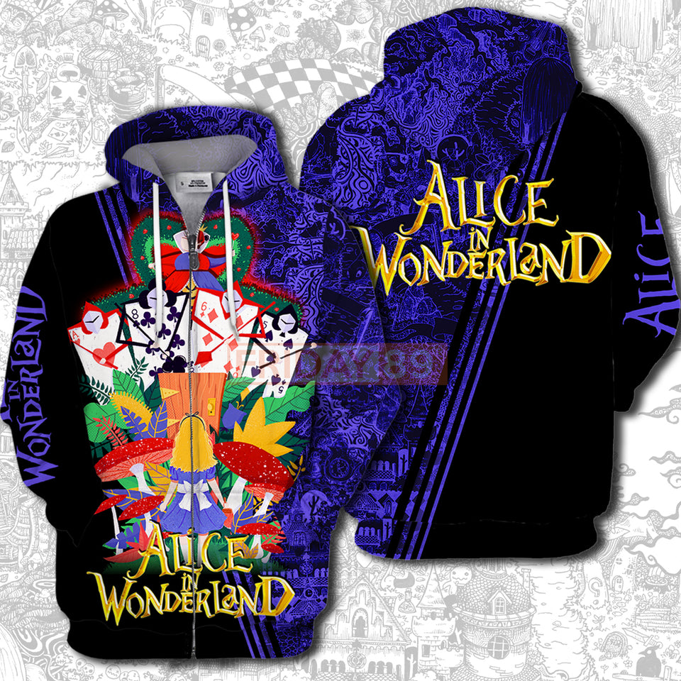 A IN WONDERLAND RQ AND ARMY OVER PRINT HOODIE T-SHIRT