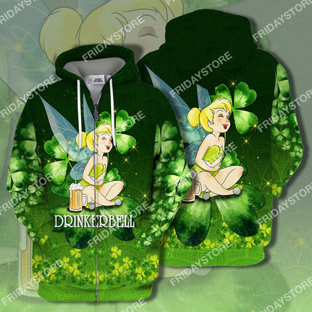Drinkerbell St Patrick's Day All Over Print Hoodie T-shirt