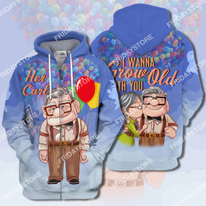 I Wanna Grow Old With You Up Couple Her Carl All Over Print Hoodie T-shirt
