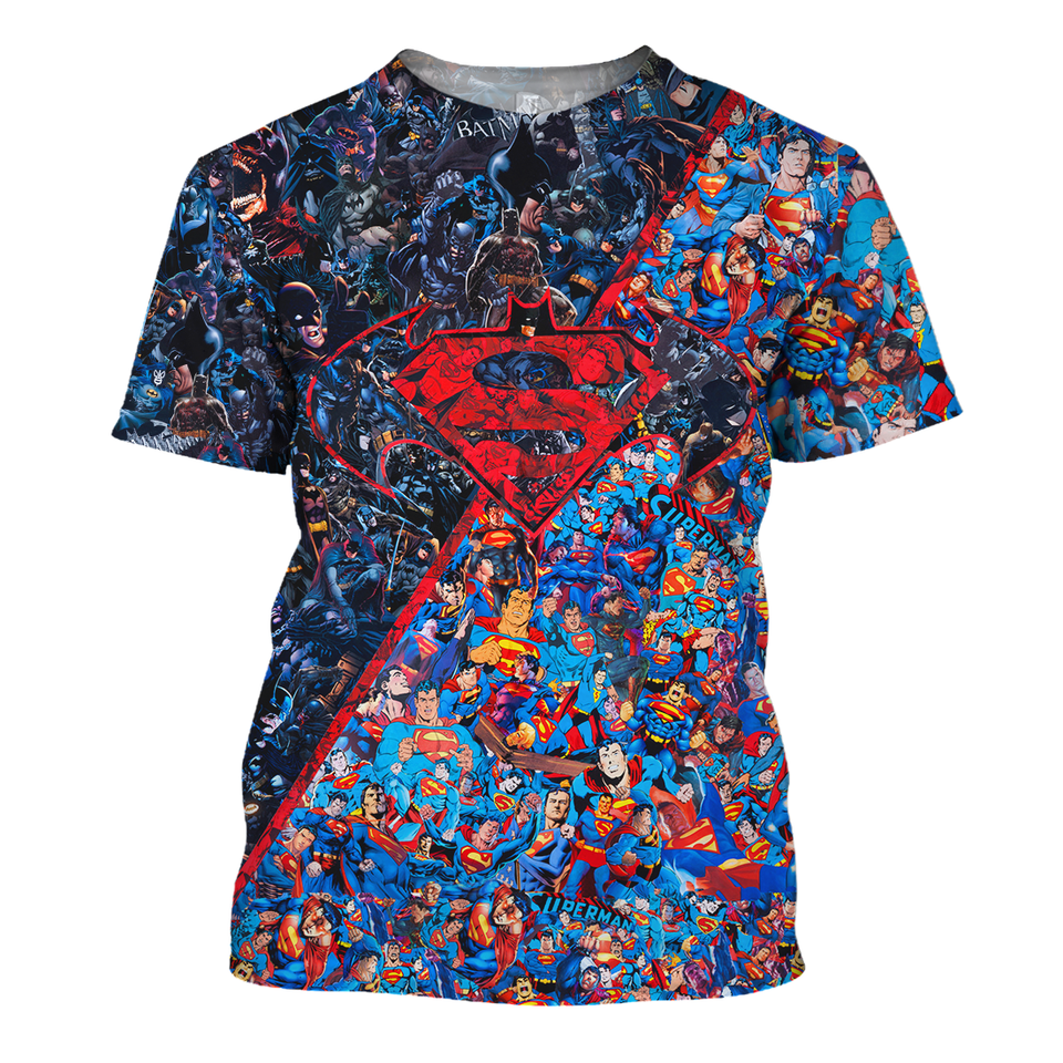 Superman & Batman 3D Print Shirt