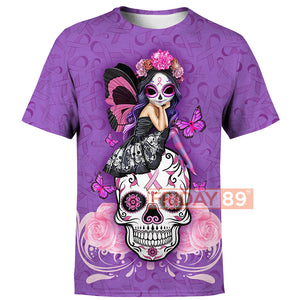 Fight Like A Girl Breast Cancer Sugar Skull