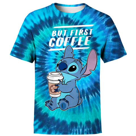 Image of But First Coffee - Stitch Tie Dye Hoodie