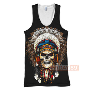 Native American Skull War Bonnets Headdresses 3D Print Hoodie