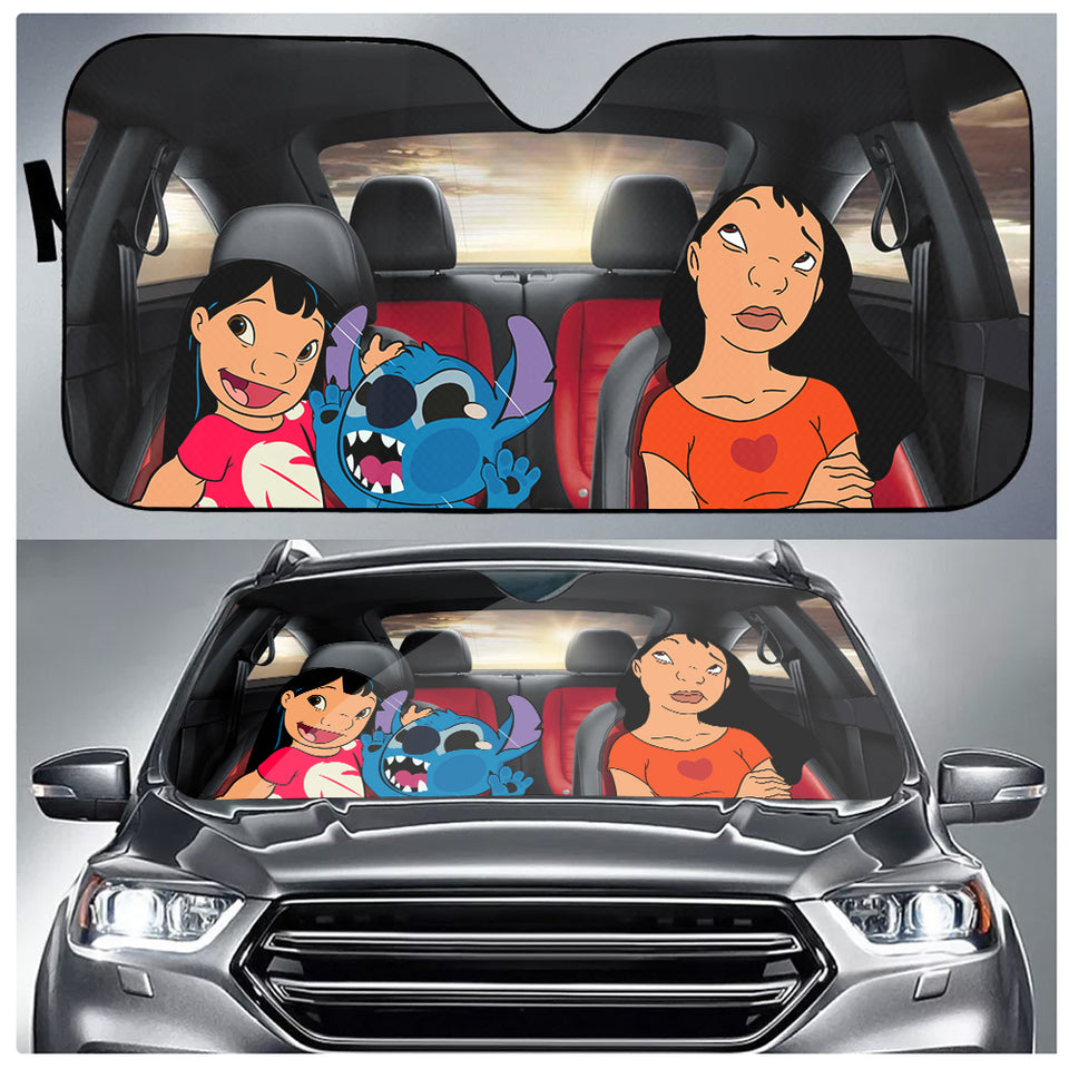 DN Funny Stitch Family Car Auto Sun Shade