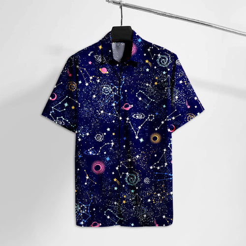 NS Geometric Space and Astronomy Hawaii Tshirt  Aloha Shirt