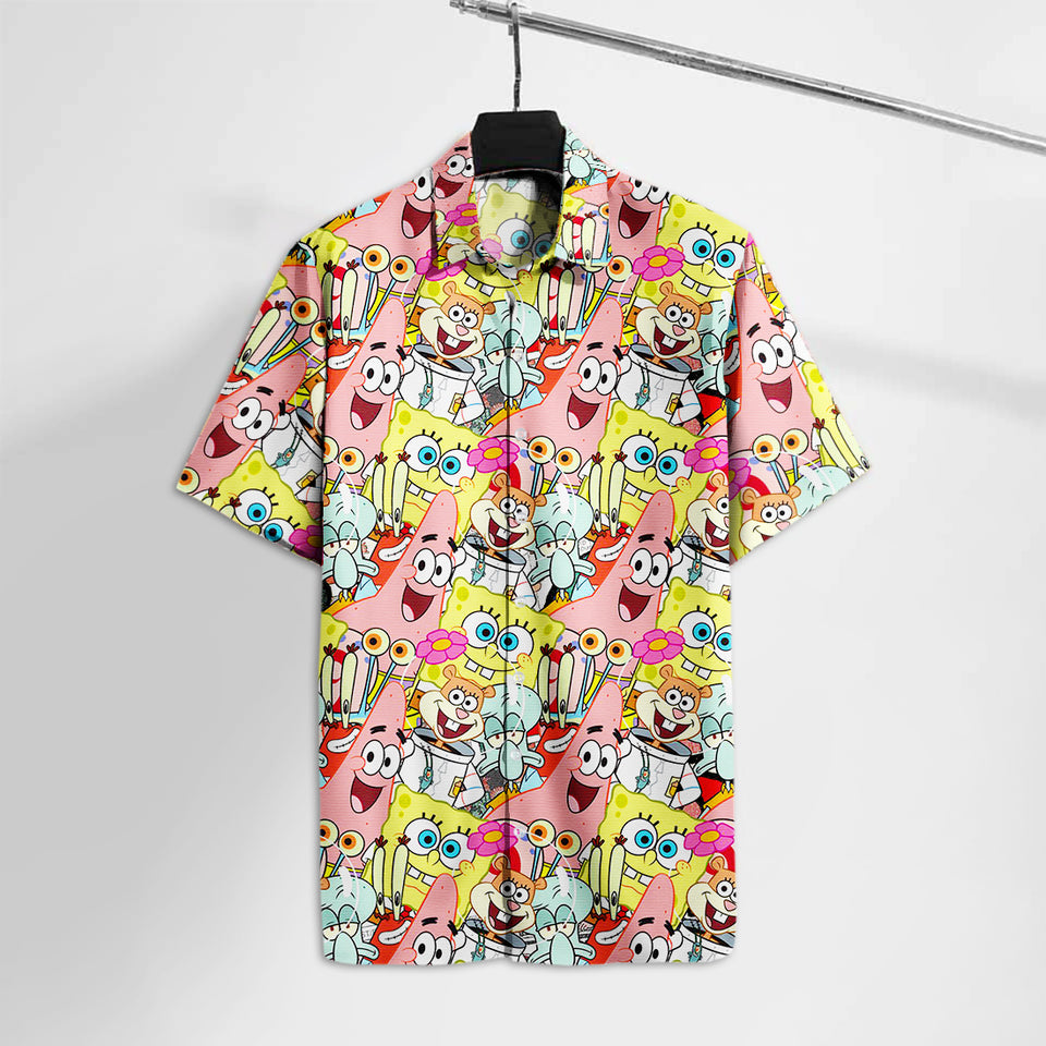 SquarePants Sponge And Friends Hawaii Tshirt  Aloha Shirt