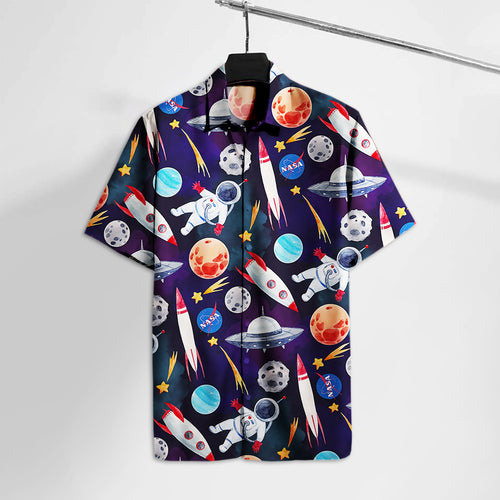 NS Astronaut Moon Mars Hawaii Tshirt  Aloha Shirt