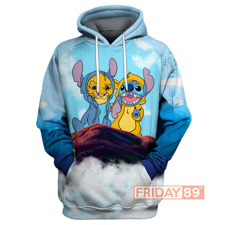 Stitch And Simba All Over Print Hoodie