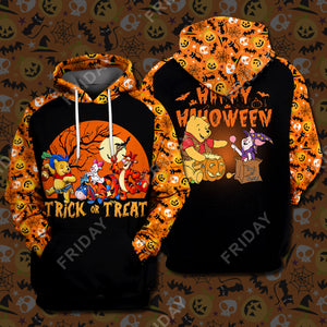 Wninie Pooh Trick Or Treat Happy Halloween All Over Print Hoodie T-shirt