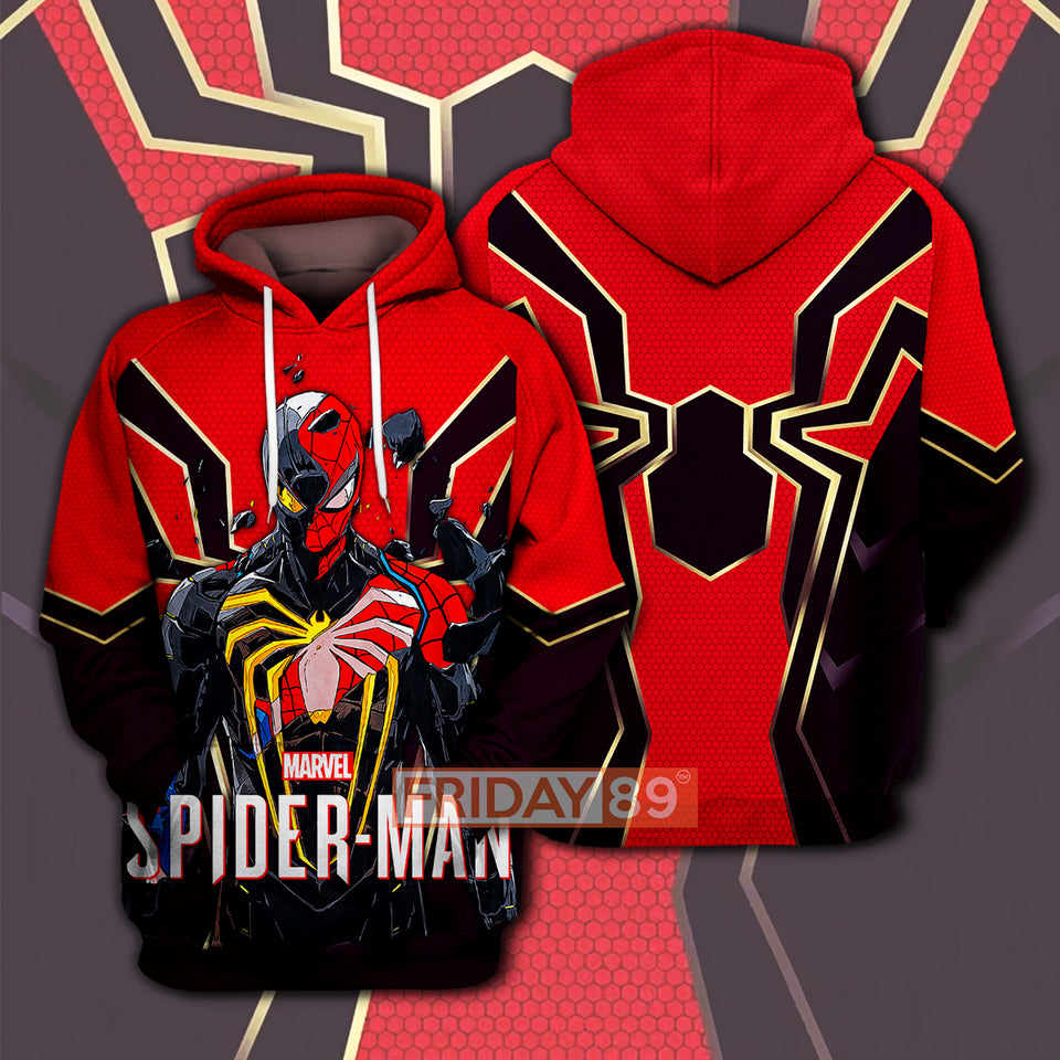 SM SPIDER RED IN BLACK 3D PRINT HOODIE T-SHIRT
