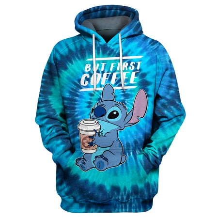 But First Coffee - Stitch Tie Dye Hoodie