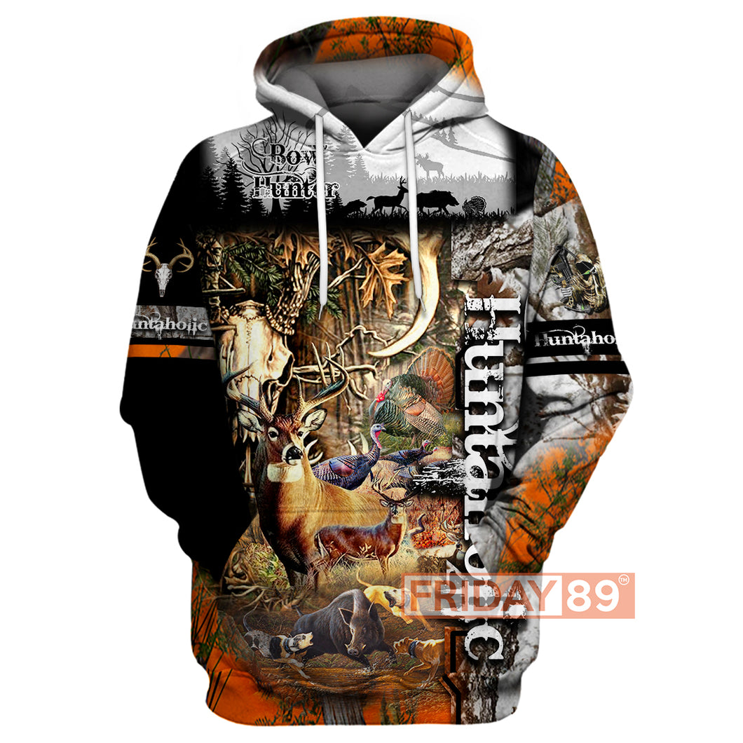 Huntaholic Hunting Wildlife Animals 3D Hoodie For Hunters