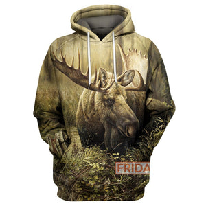 Beauty Moose Hunting Art 3D Print Hoodie T-shirt Tank Sweater