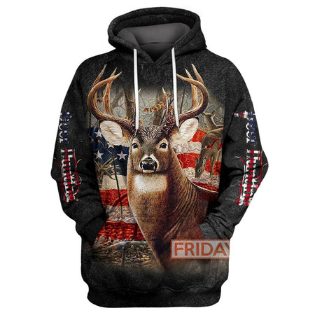 Beautiful Deer American Flag Hunting All Over Print Hoodie T-shirt Tank Sweater