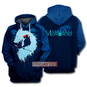 S.Ghibli Couple Princess Mononoke Art 3D All Over Print Hoodie T-shirt