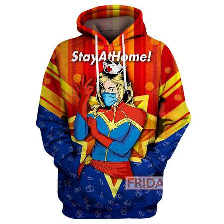 Nurse Captain MV Stay At Home All Over Print Hoodie T-shirt