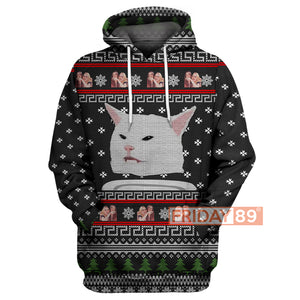 Cat Meme Woman Yelling Christmas Pattern Hoodie