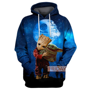 SW Groot And Baby Yoda All Over Print Hoodie