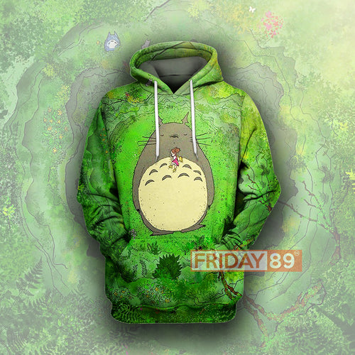 S.Ghibli Green Totoro Anime All Over Print Hoodie T-shirt